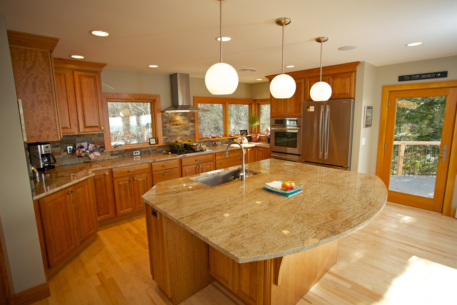 Open kitchen with island renovation