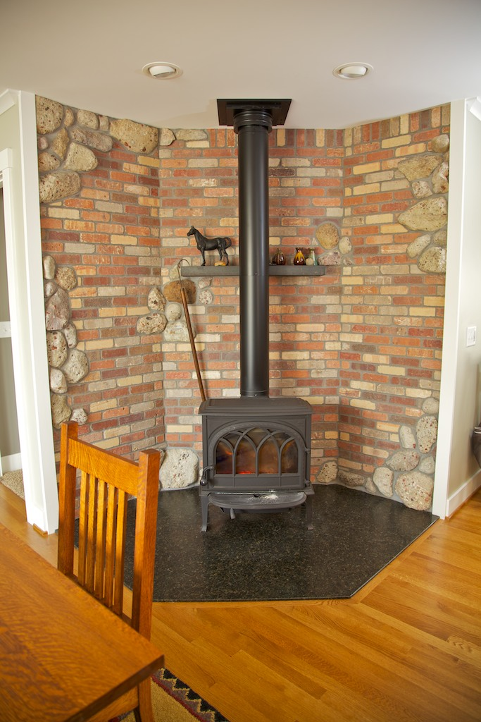 Renovated wood stove corner